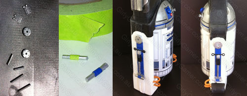Nerf Maverick R2D2 mod R2D2's Legs side on view