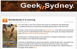 Geek in Sydney covers Borderlands 2 mod