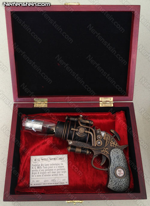 h.g. wells tesla pistol prop steampunk tesla HG Wells in case