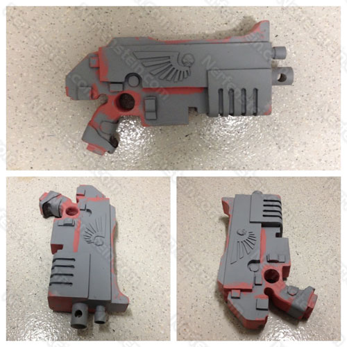 40K Bolter pistol prop build EVA foam WIP by Nerfenstein