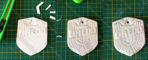 Judge Dredd police badge WIP resin prop build