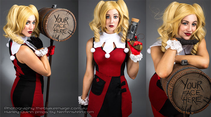 Harley Quinn cosplay giant hammer and pistol props